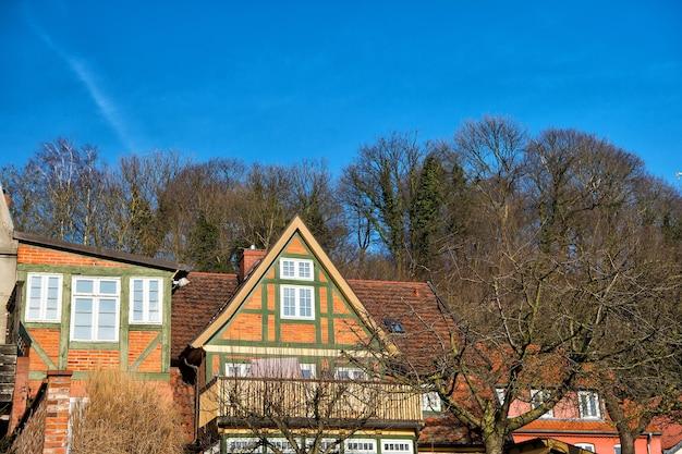 青空を背景に晴れた秋の日に裸の木と村の赤レンガの家。不動産、建築、建設、建物のコンセプト