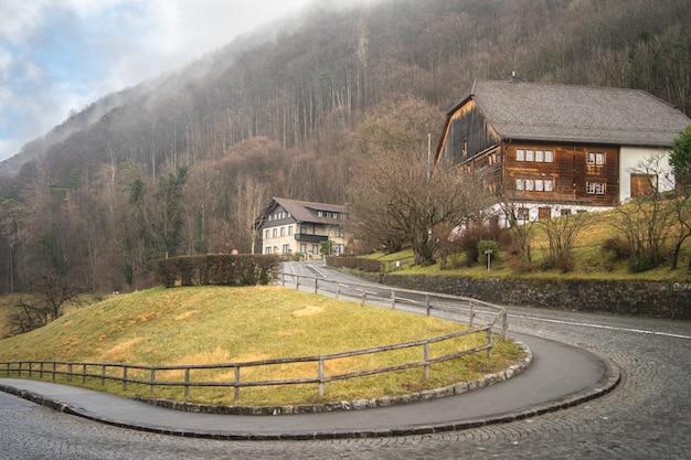 曲がりくねった道と木々のある山の家