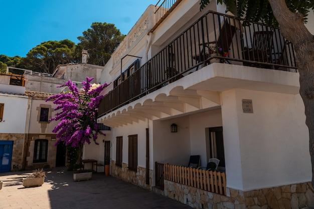 Дома на пляже са туна на побережье бегура летом, жирона на побережье коста брава в каталонии в средиземном море