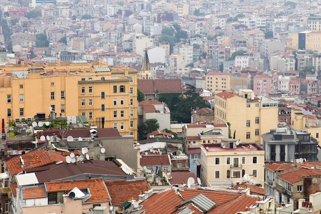 Houses and public buildings densely cover an area of istanbul, turkey