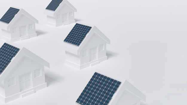 Houses with solar panel on roof.