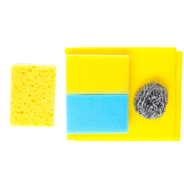 Housewife home cleaning kit isolated on white background. sponges, abrasives.