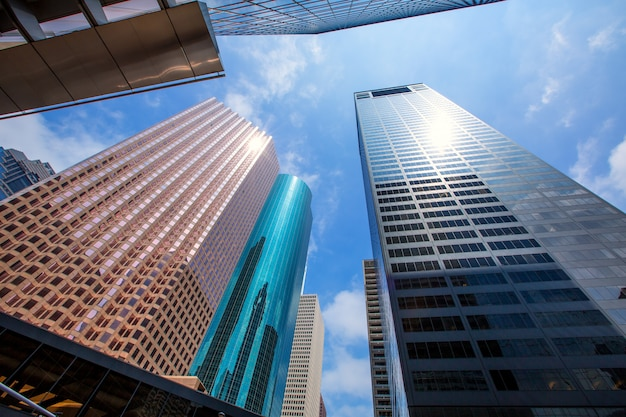 Houston downtown skyscrapers disctict blue sky mirror