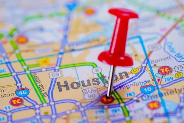 Дорожная карта хьюстона с красной канцелярской кнопкой, городом в соединенных штатах америки сша.