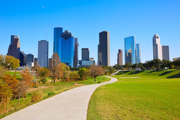 Houston skyline in sunny day from park grass