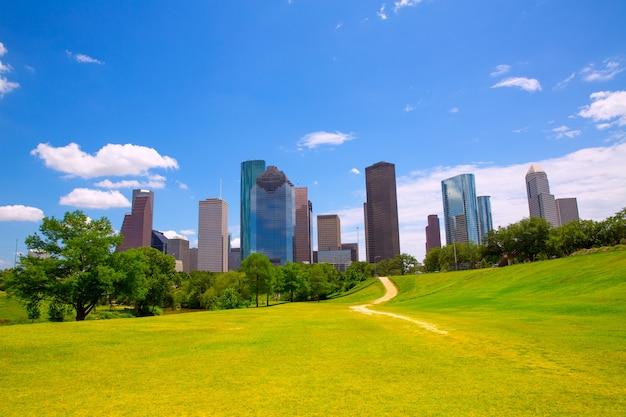 Houston texas skyline modern skyscapers and  blue sky