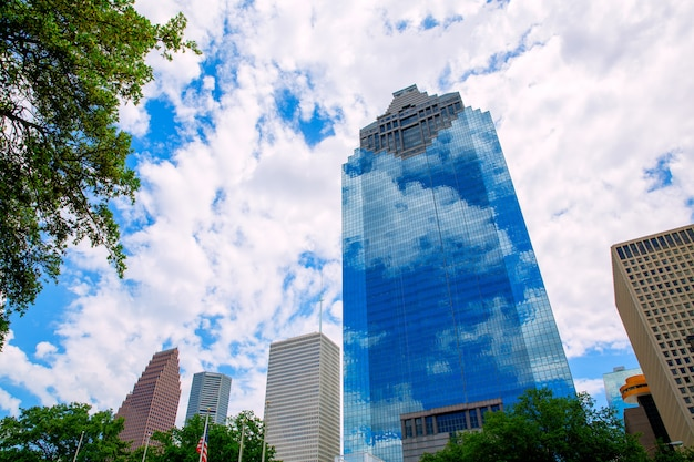 Houston texas skyline with skyscapers and blue sky
