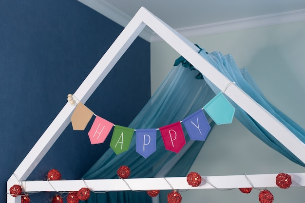 How to make felt flag garland with embroidered letters at home.