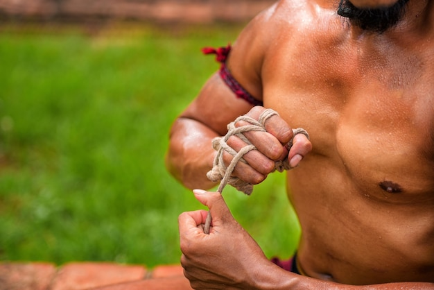 How to tie a rope at hand of ancient boxing ayutthaya thailand