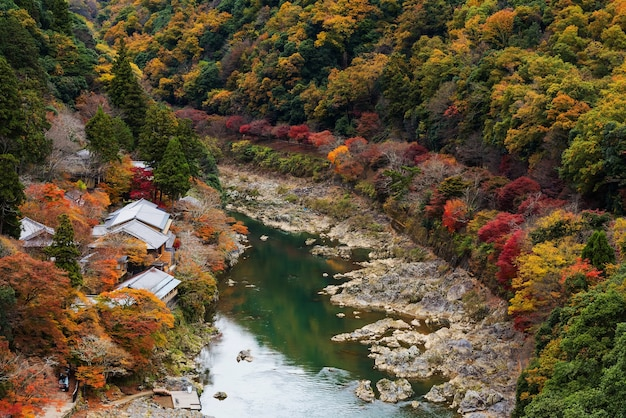 Hozu river in autumn with fall foliage colors from arashiyama top view, kyoto, japan