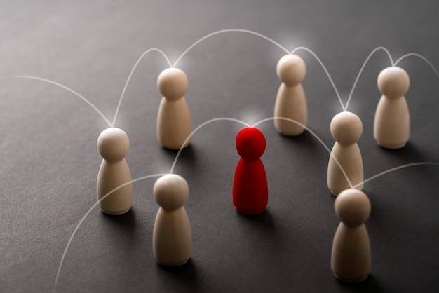 リーダーシップとペグ人形と手のチームのためのビジネス&hrグローバルウッドパズルコンセプト