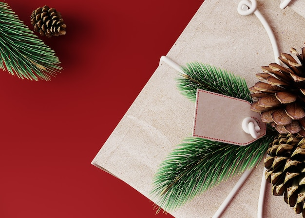 Hristmas and new year composition. gifts, blank product label and fir tree on a red bright background. top view, 3d render