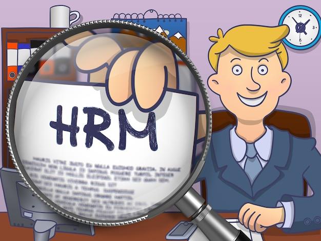 Hrm - 人的資源管理 - ビジネス コンセプトを示すために拡大鏡を介してビジネスマンの手に紙の上。落書き風の多色のモダンな線図。