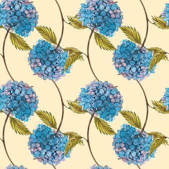 Акварель гидрунгеа. бесшовные модели комплект полевого цветка изолированный на белизне. ботаническая акварель иллюстрации, букет hrrungea, деревенские цветы.