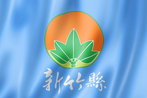 Hsinchu county flag, china waving banner collection. 3d illustration