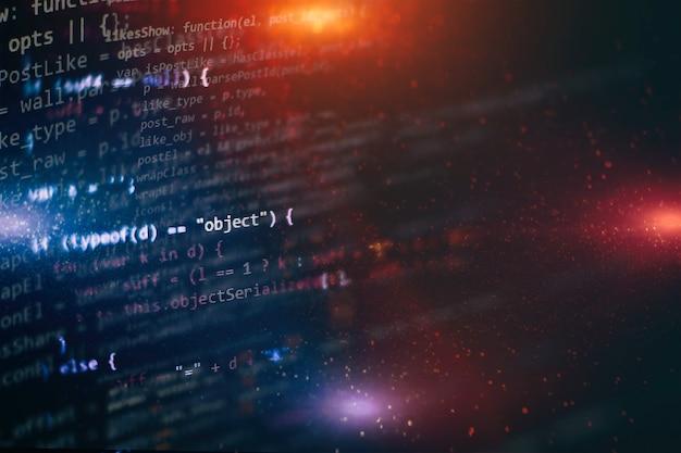 Webサイト開発用のエディターのhtml5。ラップトップディスプレイのクローズアップ写真のウェブサイトのhtmlコード。