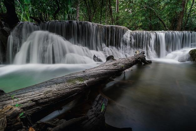 Huai mae khamin waterfall in the rain season kanchanaburi thailand