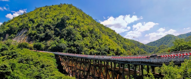 Huai tong bridge with mountain on blue sky valley view at phetchaboon thailand