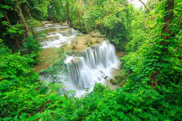 Huay mae kamin waterfall in khuean srinagarindra national park.