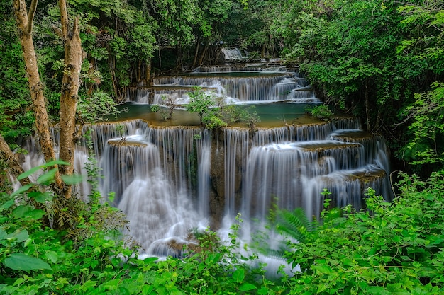Huay mae khamin waterfall, 4st floor, named chatkeaw, located at srinakarin dam national park kanchanaburi province, thailand