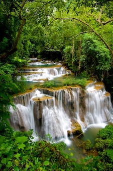 Huay mae khamin, waterfall in deep forest of thailand