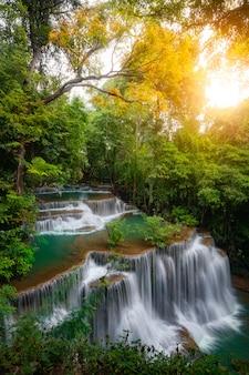 Huay mae khamin waterfall, this cascade is emerald green in kanchanaburi province, thailan