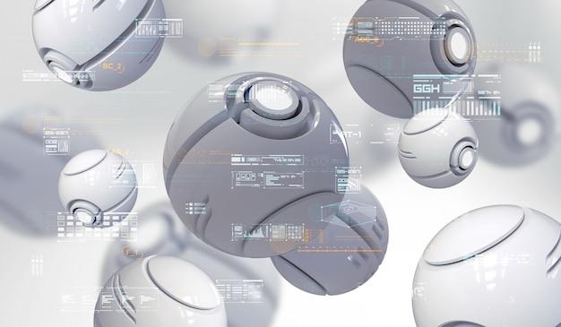 Hud要素を持つ球形ナノボットの抽象的な3 dレンダリング。ハイテク抽象的な要素を持つ未来的な組成物。