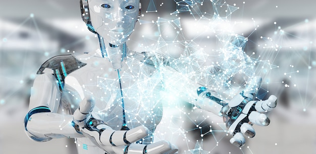 Белая женщина-гуманоид с использованием цифровой глобус hud интерфейс 3d-рендеринга