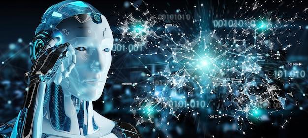 Белый человек гуманоид с использованием цифровой глобус hud интерфейс 3d-рендеринга