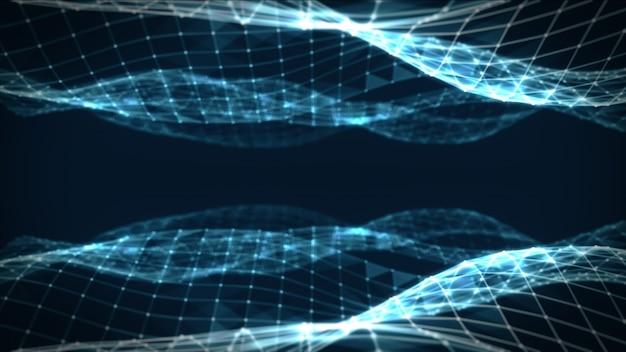 点と線を結んで抽象的な多角形空間低ポリ暗い青色の背景。接続構造。未来のhudの背景。 3dイラスト
