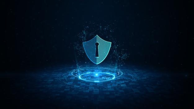 サイバーセキュリティのhudとシールドアイコンデジタルデータデジタルデータネットワーク保護