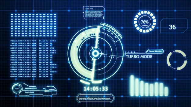 Hud driving car speed user interface computer screen display with pixels background