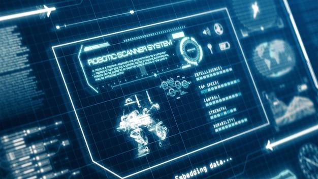 Hudロボットスキャンシステム機能ユーザーインターフェイスコンピューター画面表示、ピクセル背景。 3dレンダリング