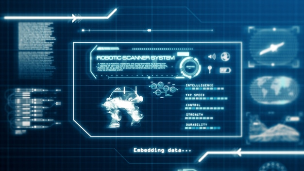 Hud robot scanning system ability user interface computer screen display with pixels background. blue abstract hologram holographic technology concept. sci-fi. 3d rendering