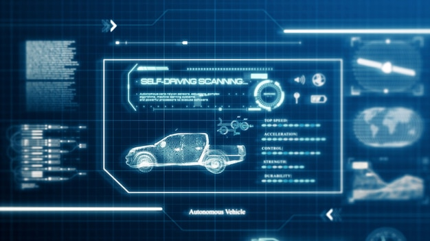 Hud self-driving vehicle pickup truck car specification scanning test user interface on computer screen pixel display panel