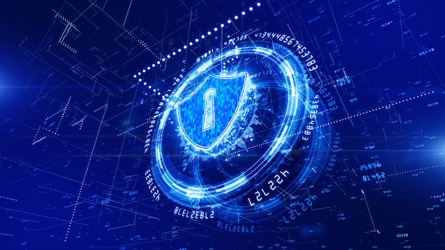 Hud and shield icon of cyber security background