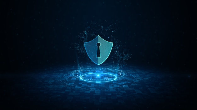 Hud and shield icon of cyber security digital data digital data network protection