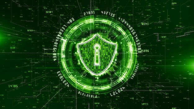 サイバーセキュリティの背景のhudとシールドアイコン