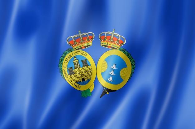 Huelva province flag, spain waving banner collection. 3d illustration