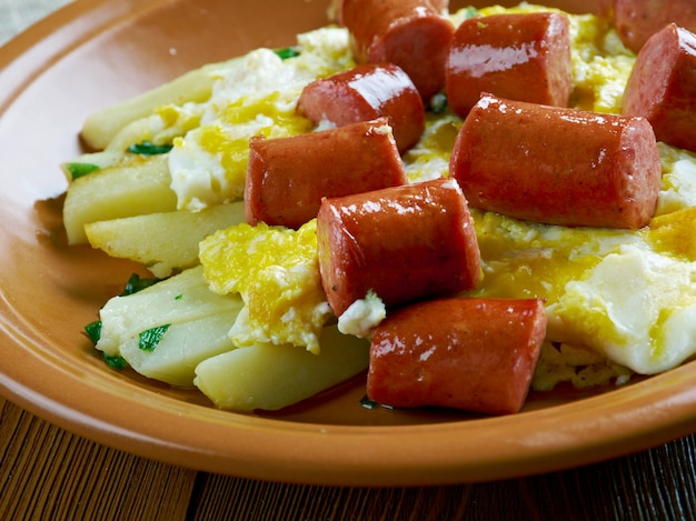 Huevos rotosとchistorra。スクランブルエッグとソーセージとポテト。メキシコ風。