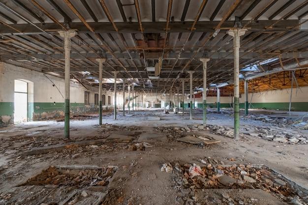 Huge abandoned industrial warehouse