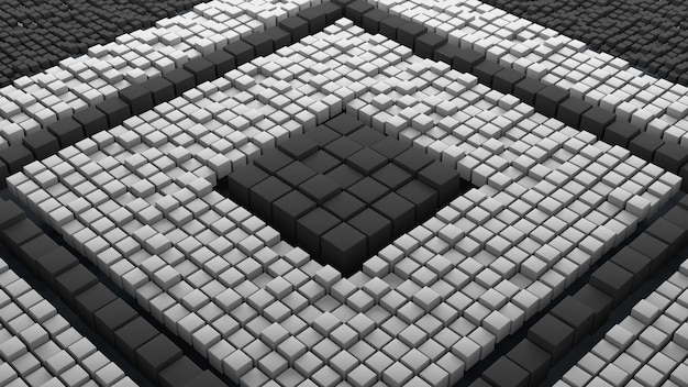 크기가 다른 엄청난 양의 무작위로 이동된 큐브. 3d 렌더링 추상적인 배경입니다. 거대한 큐브 지오메트리.