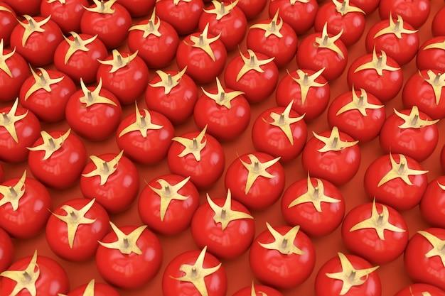 赤い孤立した背景に大量の赤いトマト。赤い完熟トマトが隣り合っています。トマトの3dリアルモデル。 3dグラフィックス、クローズアップ
