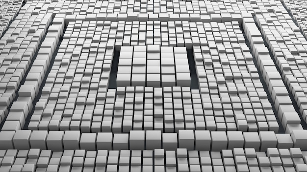 Huge amount of randomly moved cubes with different size. 3d render abstract background. massive of cube geometry.