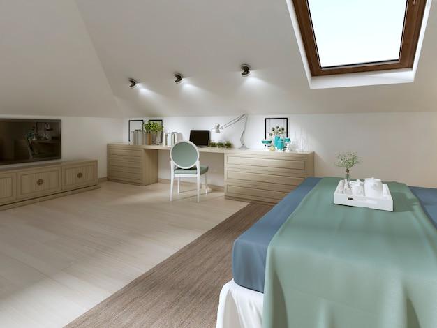 현대적인 스타일의 다락방에 거대한 침실. tv 유닛, 책상, 책꽂이가 있는 서랍 포함. 3d 렌더링.