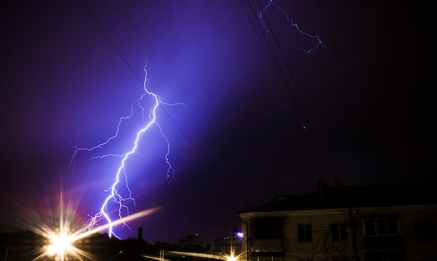 Huge bolt of lightning hits small town
