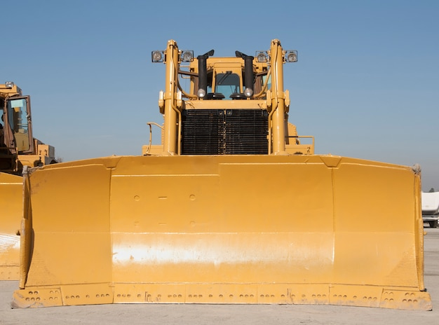 Huge bulldozer front view