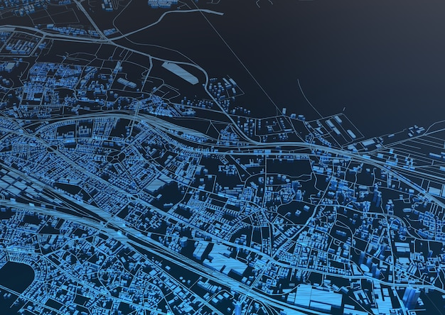 Huge city top view. illustration in casual graphic design. fragments of singapore