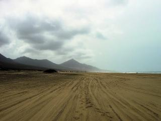Huge cofete beach in fuerteventura  horizon
