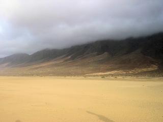 Huge cofete beach in fuerteventura  landscape